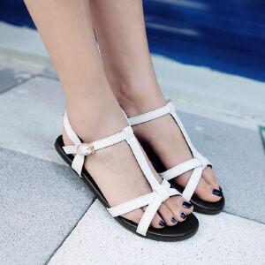 O'SHELL欧希尔新品057-1673韩版漆皮平底鞋女士凉鞋