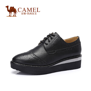 Camel骆驼女鞋 秋季新款厚底平跟布洛克松糕鞋平底鞋单鞋