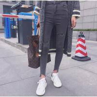 牛仔裤女韩版烟灰高腰九小脚铅笔裤社会女衣服精神大美同款裤子潮 深灰色
