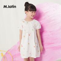 马拉丁童装女童连衣裙夏款新款圆领宽松娃娃衫可爱印花裙子