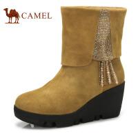 camel 骆驼女靴 镶钻串珠流苏磨砂牛皮 中筒靴 冬季新品 靴子
