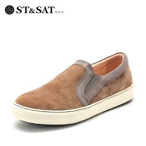 【星期六集团大牌日】星期六男鞋(ST&SAT)牛皮革方跟套脚型格春单鞋SS51128812 灰色