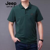 Jeep吉普短袖t恤男宽松纯色2019新款棉质POLO衫男装时尚休闲翻领打底T恤衫