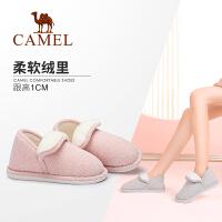 camel骆驼女鞋 秋冬新款 简约纯色保暖居家棉拖鞋包后跟毛毛鞋