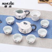 茶具套装茶壶茶杯礼品整套茶具陶瓷功夫茶具雪花釉茶具套装