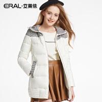 ERAL/艾莱依冬中长款修身女士羽绒服轻薄韩版连帽女16018-EDAB