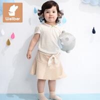 威尔贝鲁 纯棉夏季女童海军风短裙 春秋宝宝裙子2016新款半身裙