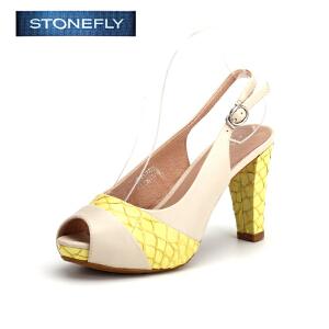 【3折到手价71.7元】STONEFLY/斯通富来专柜同款鱼嘴高跟鞋牛皮后空坡跟凉鞋女SD62112722