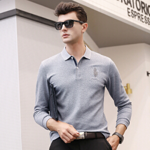 【买了都说好】 【厂价直销】长袖t恤男衬衫领男士polo衫珠地纯棉春秋季爸爸衣服中年