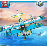 容乐高启蒙积木男孩拼装飞机滑翔机玩具儿童组装双翼表演机1125