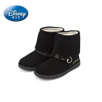 【99元任选3双】迪士尼童鞋女童冬季靴子黑色中筒靴 FS0245