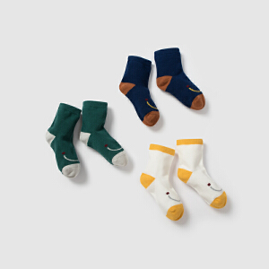 迷你巴拉巴拉儿童可爱棉袜子秋冬新款男女童宝宝短袜3双装