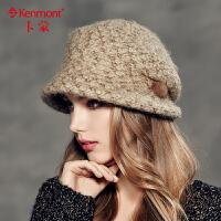 kenmont卡蒙 盆帽 女英伦贝雷帽 女 秋季女士堆堆帽淑女帽子2371