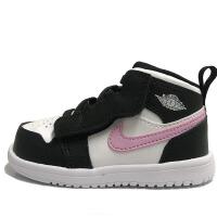 耐克 Air Jordan 儿童 AJ1魔术贴小童鞋复古休闲鞋 AT4613-103 黑粉