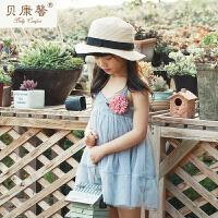 [当当自营]贝康馨 2017夏季新款女童纯棉雪纺拼接吊带裙