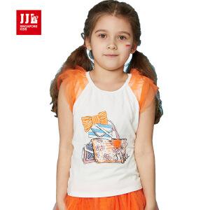 jjlkids季季乐童装女童夏季清凉可爱休闲圆领T恤中小童薄款