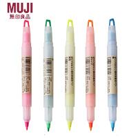 简约风格 无印良品文具透视窗荧光笔 双头附窗荧光笔 记号笔5色选