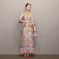 新娘中式礼服结婚敬酒服旗袍嫁衣2018新款龙凤褂喜服秀和服