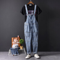欧美嘻哈情侣牛仔背带裤 复古宽松潮男工装裤韩版直筒连体裤男裤 蓝色
