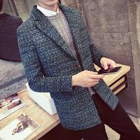 秋冬装男士新款韩版修身翻领中长款单排扣毛呢大衣潮男呢子料外套