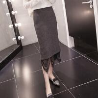 针织蕾丝半身裙包臀一步裙女中长款秋冬2018新款修身显瘦毛线裙 均码
