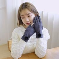 触屏手套女秋冬季可爱韩版学生秋季加绒薄款卡通保暖萌妹分指手套 均码