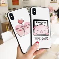 气球情侣小猪苹果8plus手机壳x猪年新款xs max卡通可爱6s情侣款7玻璃iphone6plus本命年8个性创意7