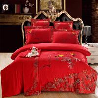 梵巢家纺 结婚床上用品婚庆四件套大红色新婚贡缎提花欧式婚庆六件套床品