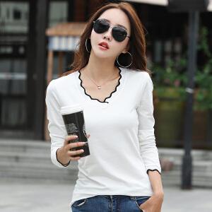 秋季新款女装上衣白色v领长袖打底衫t恤女修身韩版纯棉大码体恤衫