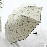 包邮 荷叶边花朵黑胶三折叠复古遮阳防晒伞 防紫外线雨伞 优雅伞