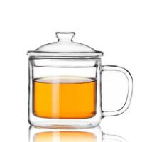 楼龙 纯朴年代双层玻璃茶缸 创意茶杯 啤酒杯 玻璃杯子 CF-98     1212
