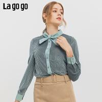 Lagogo预售2019冬季新款立领淑女衬衫女浅绿色长袖上衣ICCC43YA94