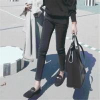 2018春装新款韩版高腰紧身烟灰色牛仔裤女小脚九分显瘦黑色长裤子
