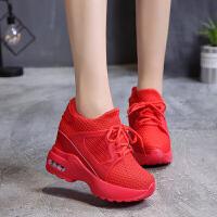 2019春夏内增高休闲女鞋松糕厚底红色透气网面运动鞋女单鞋高跟鞋