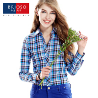 BRIOSO 春装新款女式磨毛长袖格子衬衫 韩版时尚修身出街百搭女士衬衣 大码女装 衬衣 WEMM008