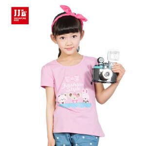 季季乐jjlkids童装女童夏季短袖T恤套头圆领休闲中小童T恤DGXT53013