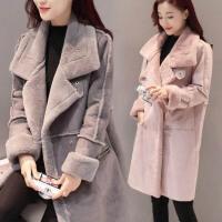大码女装冬装胖mm鹿皮绒风衣外套200斤加绒加厚中长款羊羔毛大衣