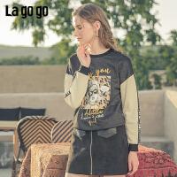 Lagogo2019年秋季新款街头欧美风豹纹拼接长袖卫衣女黑色圆领上衣