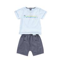 全棉时代浅蓝婴儿针织拼接短袖套装上装:66/44下装:66/44,1套装