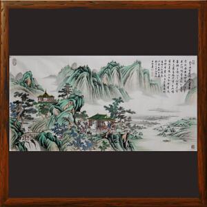 山水画配书法李白诗-古风,精品书画【真迹R1690】