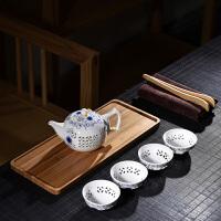 一壶四杯茶夹茶巾简约茶台功夫茶具套装整套茶具家用竹制茶盘托盘