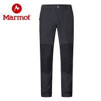 Marmot/土拨鼠男士软壳裤梭织面料吸湿排汗中轻量弹力双层梭织面料