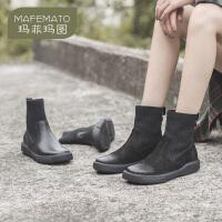 玛菲玛图短靴女春秋单靴子2020秋款瘦瘦靴女复古休闲真皮厚底袜靴女马丁靴2213-13