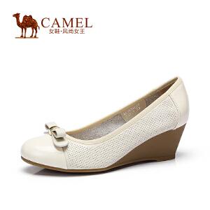 Camel/骆驼女鞋 舒适简约 春鞋新品牛皮百搭蝴蝶坡跟浅口单鞋