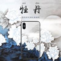 中国风白牡丹苹果7plus手机壳x新款iphone6玻璃6s文艺复古8全包6plus冷淡风xs max潮女8p个性创意