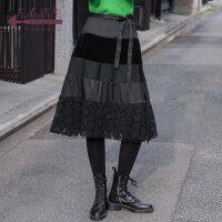 生活在左2019秋季女装新款天黑色复古气质绑带半身裙高雅显瘦中裙