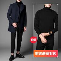 冬季男士风衣韩版潮流毛呢大衣中长款羊毛冬天呢子外套中青年修身YM30018