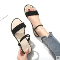 简约一字带仙女鞋抖音同款新款韩版一鞋两穿网红平底女士凉鞋