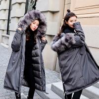 潮妈孕后期宽松棉衣孕妇秋冬装羽绒韩版加厚大毛领外套