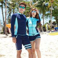 情侣泳衣长袖防晒显瘦瑜伽服潜水服运动泳装两件套分体平角